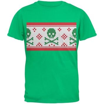 Skull And Crossbones Christmas Tree Cut Out Dark Green Youth T-Shirt