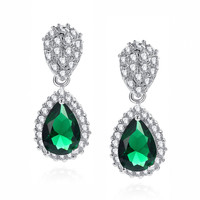Green Teardrop and Clear Round Cubic Zirconia Halo Earrings