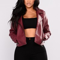 Cool Kid Faux Leather Jacket - Burgundy