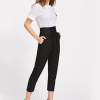 High Waisted Corset Ankle Trousers - Black