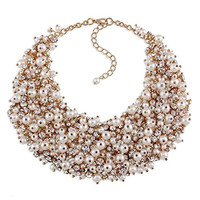 Rhinestone and Imitation Pearl Handmade Knitted Chunky Chokers Bib Necklace for Women