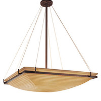 Justice Design Group PNA-9794-25-SAWT-DBRZ-LED-6000 Porcelina Dark Bronze LED 36-Inch Square Bowl Pendant with Ring and Sawtooth Shade