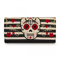Nautical Sugar Skull & Sparrows Striped Embroidered Wallet