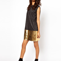 ASOS Shift Dress With Metallic Hem at asos.com