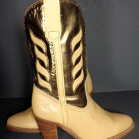 FRYE Vintage Gold & Beige Leather Cowgirl Cowboy Western Boots Women's Size 7.5