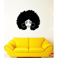Vinyl Wall Decal Abstract African Girl Face Hairstyle Stickers (3382ig)