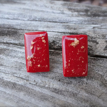 CYBER MONDAY, Resin Earrings, Polymer Clay Jewelry, Clay Earrings, Rectangle Earrings, Red and Gold, Geometric Studs, Stocking Stuffer