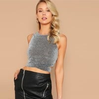 Glamorous Sexy Grey Cross Wrap Hem Glitter Tank Top Women Party Minimalist Basics Round Neck Vests