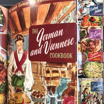 Vintage 1950s Cooking Magic Cookbooks Culinary Arts Institute International Recipes Binder Cookbook Collection Vintage Food Photos