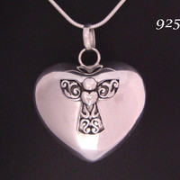 Heart Shape 925 Sterling Silver Harmony Ball Highly Polished Finish set with a 925 Silver Guardian Angel | Bola Necklace, Angel Caller 601