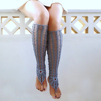 Crochet Blue Gray Sexy Laced Up Leg Warmers, Steel Nude shoes,  Victorian Lace, Sexy, Fishnet Knee Socks,  Steampunk