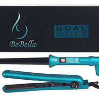 "Bebella Evolution Dual Duet Gift Set with Professional 1.25"" 100% Onyx Ceramic Plates 180F to 475F Hair Straightener Flat Iron 18-25mm Professional and Tapered 18mm-25mm Barrel Ceramic Curler with Heat Resistant Glove (Teal Blue)"