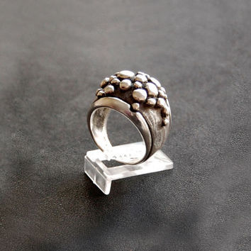 Sterling Silver Bubble Ring - Bubbles Texture Ring - Contemporary Jewellery in Silver - Size made to order - Unique and Important Ring
