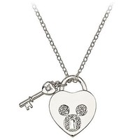Disney Pavé Crystal ''Heartlock'' Mickey Mouse Necklace -- Crystal Mouse Icon | Disney Store