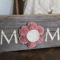 """Reclaimed Pallet Wood Sign - MOM 18""""X7"""""""