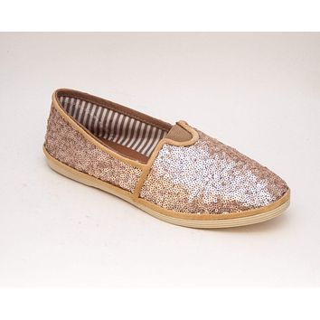 Champagne Gold Starlight Sequins Slip On Shoes