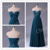 First Class A-Line Sweetheart Chiffon Beads Lace-up Long Floor-length Sexy 2014 Bridesmaid /Party/Evening/Prom/Formal Dress Chiffon