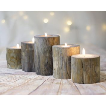 Log Candle Holders, Set of 5, Gray