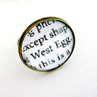 The Great Gatsby Quotes Book Page Jewelry Ring West Egg WestEgg Upcycled Altered Book Art Jewelry Classic Literature for Book Lover