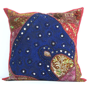 Heavy Beaded Indian Patchwork Decorative Throw Pillow