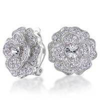 Bling Jewelry Clear Floral Clip On