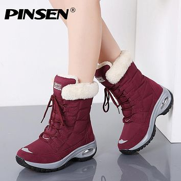 Winter Women Boots Keep Warm Mid-Calf Snow Boots Women Lace-up Comfortable Ladies Boots