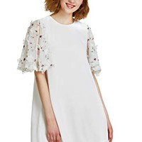 Verdusa Women's Floral Applique Mesh Sleeve Shift Dress