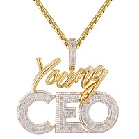 Gold Tone Young CEO Rich Life Baguette Icy Custom Pendant