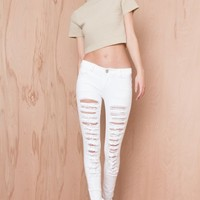 Let's Get Ripped Skinny Jeans White   LASULA