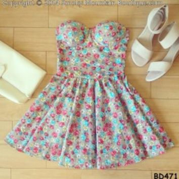 Candy Floral Bustier Dress with Adjustable Straps - Size XS/S/M BD 471 - Smoky Mountain Boutique
