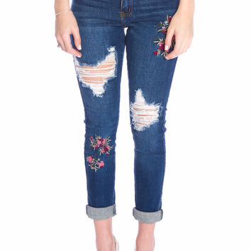 (aku) Floral embroidered Machine brand jeans