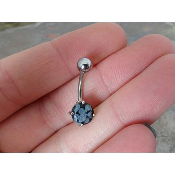 Snowflake Jasper Belly Button Ring Jewelry