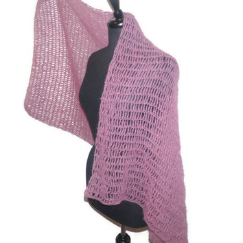 Luxurious kid mohair shawl in Rose, hand crochet wrap