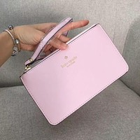 Kate Spade Simple Zipper Wrist Bag Handbag Wallet Light Pink (22 color)
