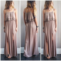 A Boho Double Slit Maxi in Mocha