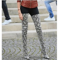 Snakeskin Leather Pointed Toe Thigh High Boots