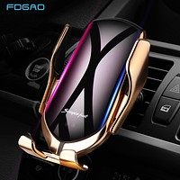 Fast Charging DCAE Phone Charger Automatic Clamping 10W Wireless Car Phone Charger Holder For iPhone XS XR X 8 11 Pro Samsung S10 S9 S8 Qi Fast Charging Car Phone Holder 2 Colors FREE SHIPPING