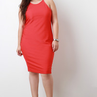 Ribbed Knit Sleeveless Bodycon Midi Dress