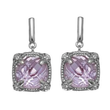 Phillip Gavriel Sterling Silver White Sapphire and Square Amethyst Dangle Earrings