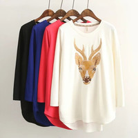 Deer Embroidered Sweater