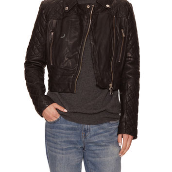 Andrew Marc x Richard Chai Women's Nicola Leather Quilted Jacket - Black