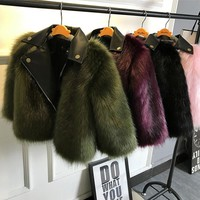 Girl fur Coat Jacket Imitation fox Artificial Fur Grass High Quality Plush+leather Fake Two Pieces Winter Kids  Clothes Warm Fur