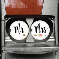 Mr and Mrs, Car Cup Coasters, Gift for bride, Wedding car coaster, Personalized Coaster, Custom Car Coaster, Monogrammed Holder (CAR0010)