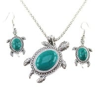 Turquoise Sea Turtle Dangle Earrings and Pendant Necklace 2 Piece Set in Silver