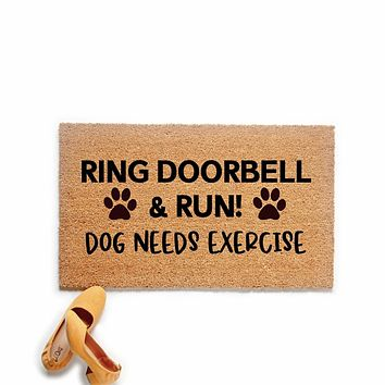 Ring Doorbell and Run Funny Dog Doormat