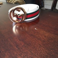 Authentic Men Gucci Belt White Green Red Size 95/38 Fits 32-34