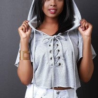 Lace-up Eyelet Drawstring Hoodie Crop Sweater Top