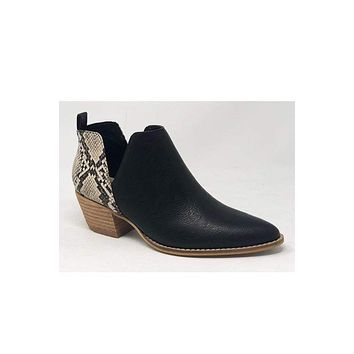 Christian Black bootie with Faux Snakeskin