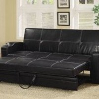 Coaster Fine Furniture 300132 Faux Leather Sofa Bed with White Stiching, Black