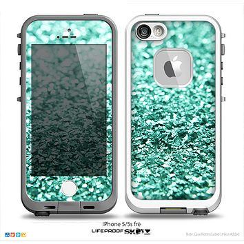 The Aqua Green Glimmer Skin for the iPhone 5-5s Fre LifeProof Case